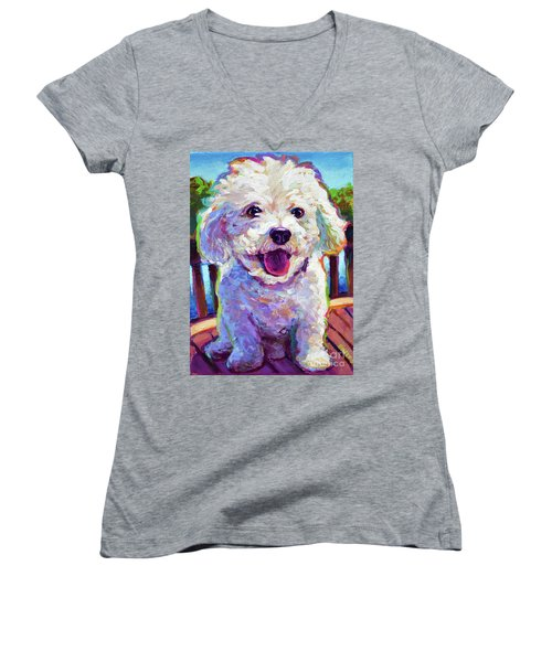 Women's V-Neck T-Shirt (Junior Cut) featuring the painting Bichon Frise by Robert Phelps