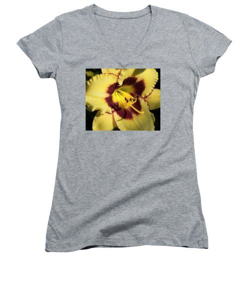 Women's V-Neck T-Shirt (Junior Cut) featuring the photograph Bicolored Lily by Jean Noren
