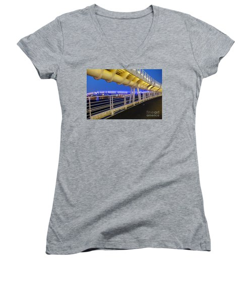 Women's V-Neck T-Shirt (Junior Cut) featuring the photograph Bicycle And Pedestrian Overpass by Yali Shi