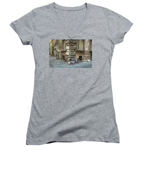 Bicycle In Rome Women's V-Neck T-Shirt