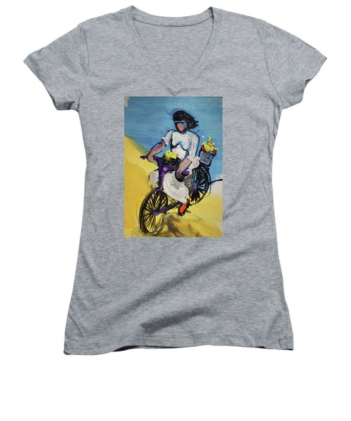 Bicycle Riding With Baskets Of Flowers Women's V-Neck T-Shirt (Junior Cut) by Amara Dacer