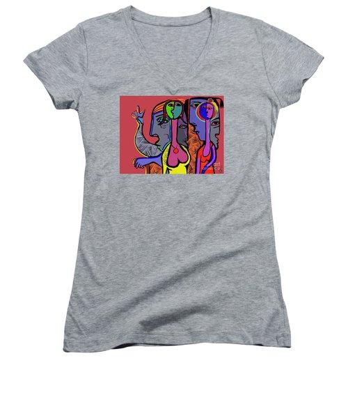 Bidding Women's V-Neck T-Shirt (Junior Cut) by Hans Magden