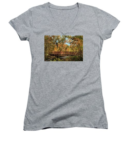 Women's V-Neck T-Shirt featuring the photograph Bidwell Park Bridge In Chico by James Eddy