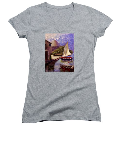 Bienvenue A Yvoire.. Women's V-Neck T-Shirt (Junior Cut) by Cristina Mihailescu