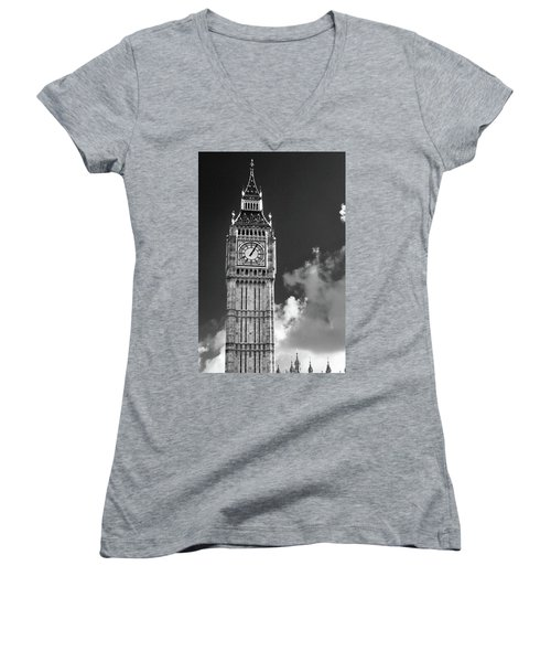 Big Ben And Clouds Bw Women's V-Neck T-Shirt