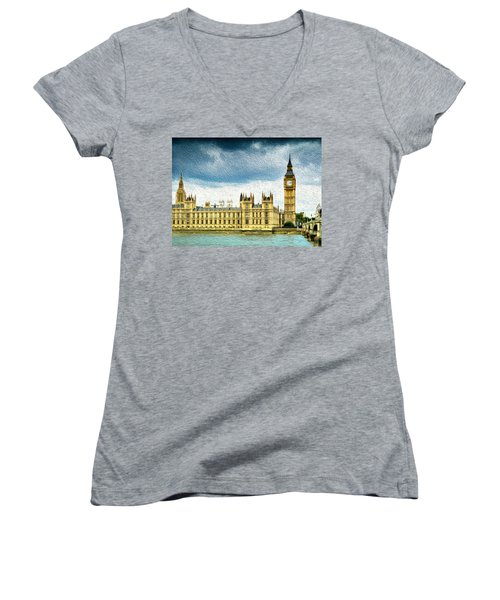 Big Ben And Houses Of Parliament With Thames River Women's V-Neck