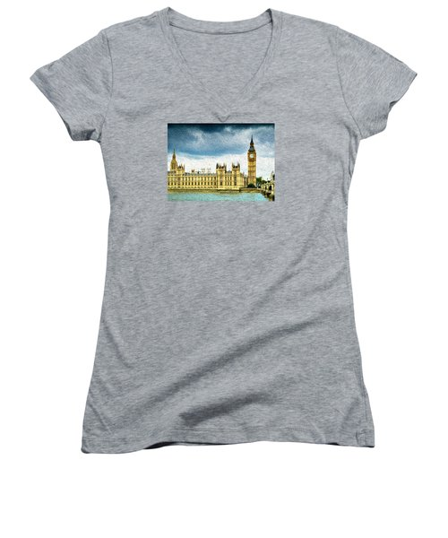 Big Ben And Houses Of Parliament With Thames River Women's V-Neck (Athletic Fit)