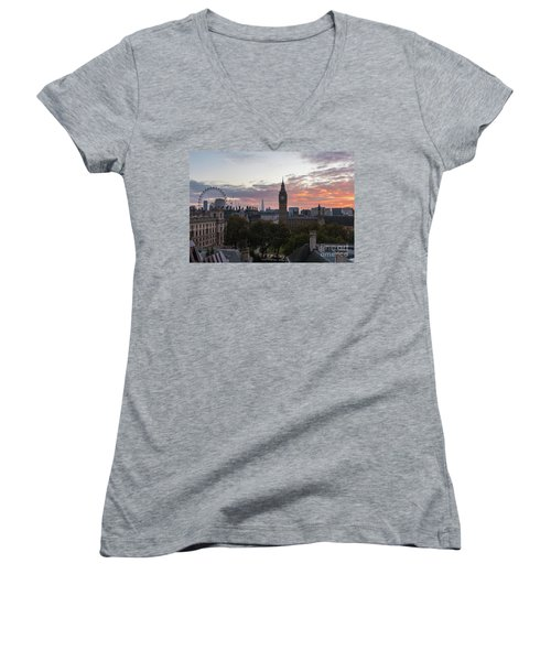 Big Ben London Sunrise Women's V-Neck T-Shirt (Junior Cut) by Mike Reid