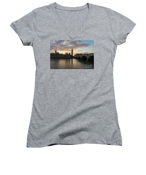 Big Ben London Sunset Women's V-Neck T-Shirt (Junior Cut) by Mike Reid