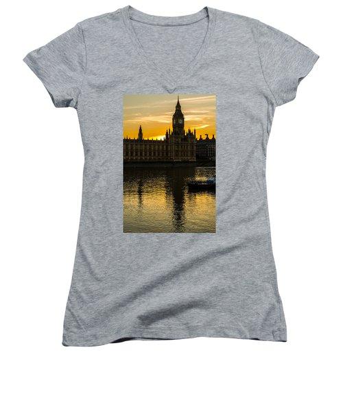 Big Ben Tower Golden Hour In London Women's V-Neck