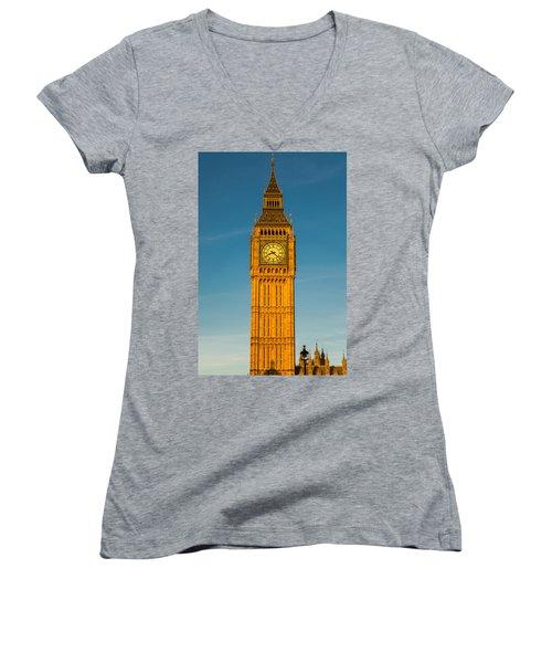 Big Ben Tower Golden Hour London Women's V-Neck