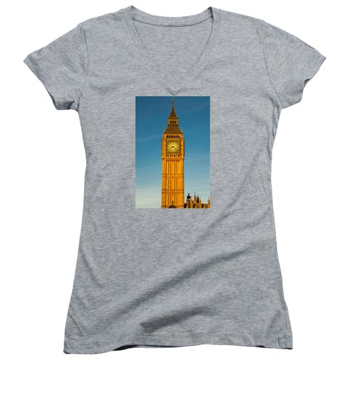 Big Ben Tower Golden Hour London Women's V-Neck (Athletic Fit)