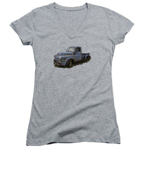 Women's V-Neck T-Shirt (Junior Cut) featuring the photograph Big Blue Dodge Alone by Debra and Dave Vanderlaan