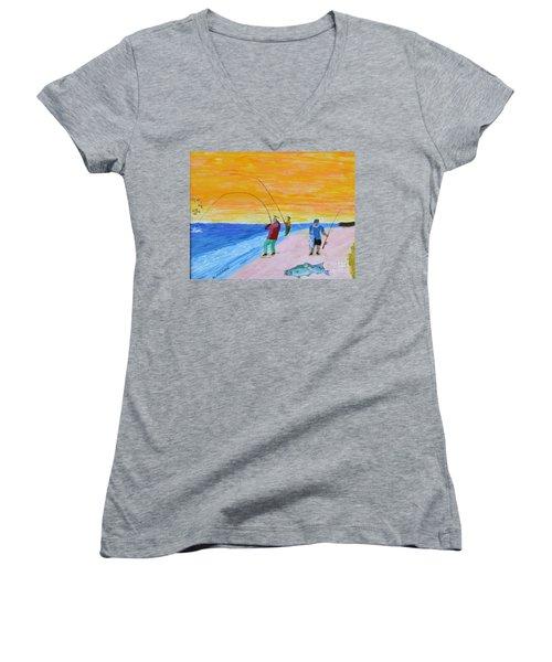 Big Blues At Herring Cove Women's V-Neck T-Shirt (Junior Cut) by Bill Hubbard