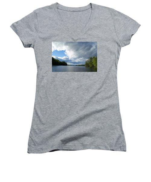 Women's V-Neck T-Shirt (Junior Cut) featuring the photograph Big Brooding Sky by Lynda Lehmann