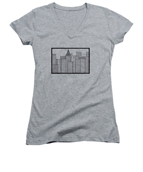 Big City Women's V-Neck T-Shirt (Junior Cut) by Konstantin Sevostyanov