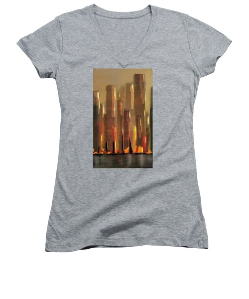 Big City Sunset Women's V-Neck
