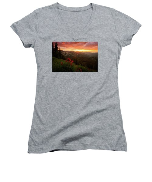 Big Cottonwood Sunset Women's V-Neck (Athletic Fit)