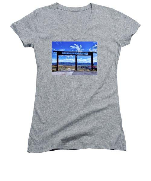 Big Creek Ranch Women's V-Neck T-Shirt (Junior Cut) by L O C