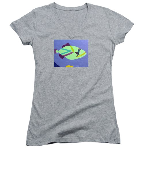 Women's V-Neck T-Shirt (Junior Cut) featuring the painting Big Fish In A Small Pond by Karen Nicholson