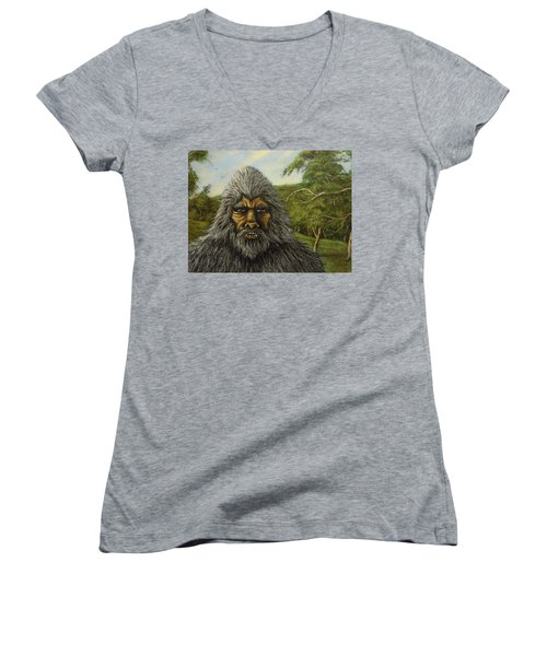 Women's V-Neck T-Shirt (Junior Cut) featuring the painting Big Foot In Pennsylvania by James Guentner