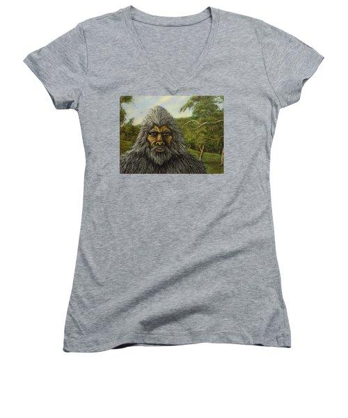 Big Foot In Pennsylvania Women's V-Neck T-Shirt