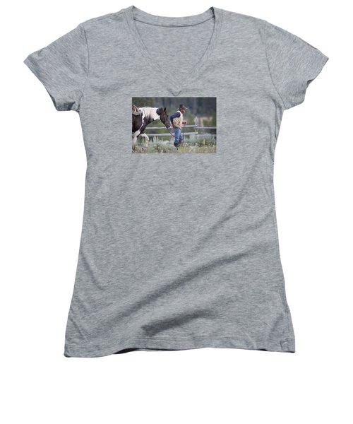 Big Horn Cowboy Women's V-Neck T-Shirt (Junior Cut) by Diane Bohna