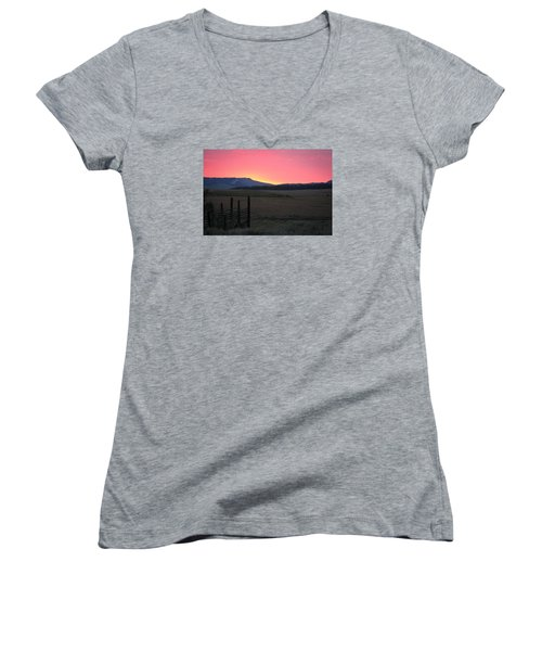 Big Horn Sunrise Women's V-Neck T-Shirt (Junior Cut) by Diane Bohna