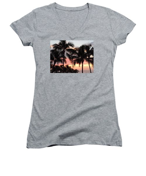 Big Island Sunset 1 Women's V-Neck T-Shirt (Junior Cut) by Karen J Shine