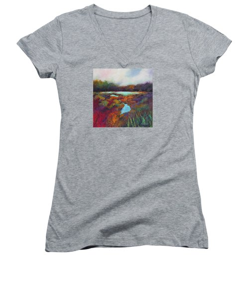 Big Pond In Fall Mc Cormick Woods Women's V-Neck T-Shirt (Junior Cut) by Marti Green