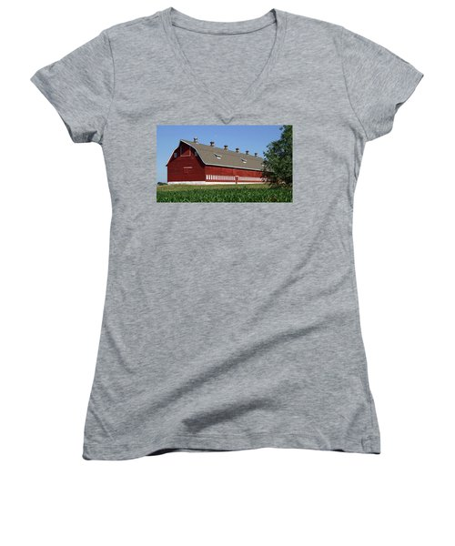 Big Red Barn In Spring Women's V-Neck (Athletic Fit)