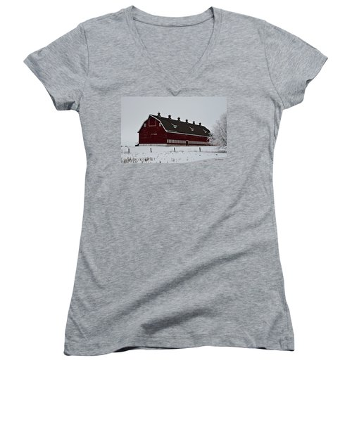 Big Red Barn In The Winter Women's V-Neck (Athletic Fit)