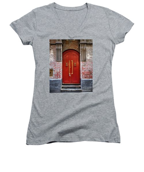 Women's V-Neck T-Shirt (Junior Cut) featuring the photograph Big Red Doors by Perry Webster