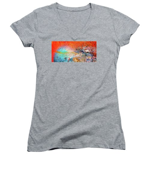 Big Shot - Orange And Blue Colorful Happy Abstract Art Painting Women's V-Neck T-Shirt