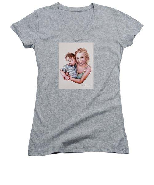 Big Sister Women's V-Neck T-Shirt (Junior Cut) by Dave Luebbert