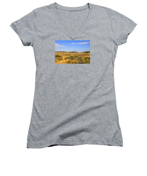Big Sky Montana Women's V-Neck T-Shirt (Junior Cut) by Chris Smith