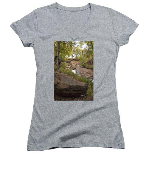 Big Stone Creek Women's V-Neck T-Shirt (Junior Cut) by Ricky Dean