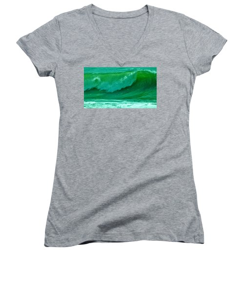 Big Surf 2 Women's V-Neck T-Shirt (Junior Cut) by John Wartman