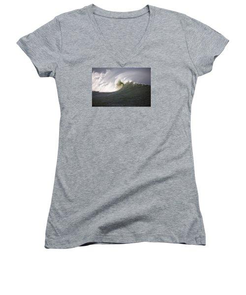 Big Waves #3 Women's V-Neck T-Shirt (Junior Cut) by Mark Alder