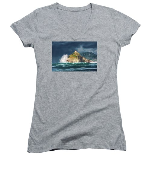 Big Waves Over San Juan De Gaztelugatxe Women's V-Neck