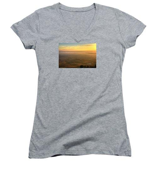Bighorn Sunrise Women's V-Neck T-Shirt (Junior Cut) by Fiskr Larsen