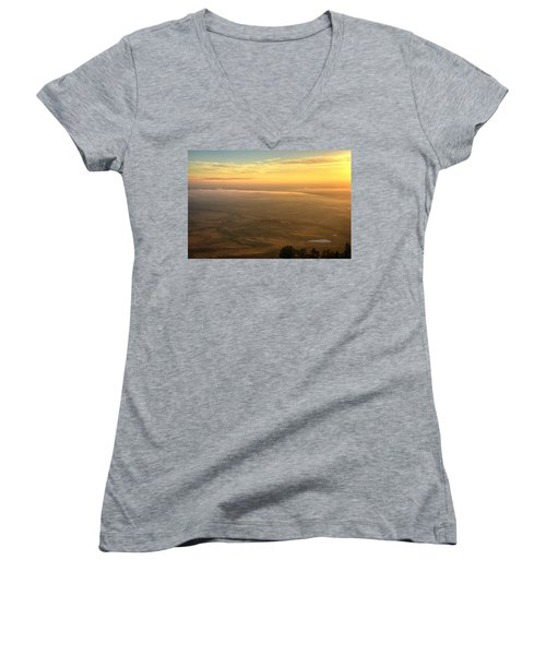 Women's V-Neck featuring the photograph Bighorn Sunrise by Fiskr Larsen