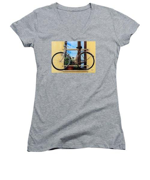 Bike In The Window Women's V-Neck T-Shirt (Junior Cut)