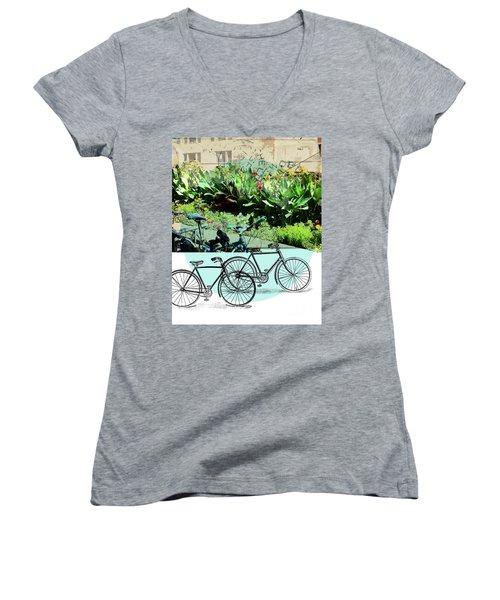Bike Poster Women's V-Neck T-Shirt (Junior Cut) by Deborah Nakano
