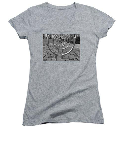 Bike Rack Black And White Version Women's V-Neck T-Shirt (Junior Cut) by John S