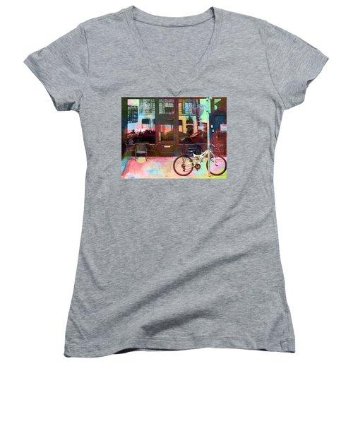 Women's V-Neck T-Shirt (Junior Cut) featuring the digital art Bike Ride To Runyons by Susan Stone