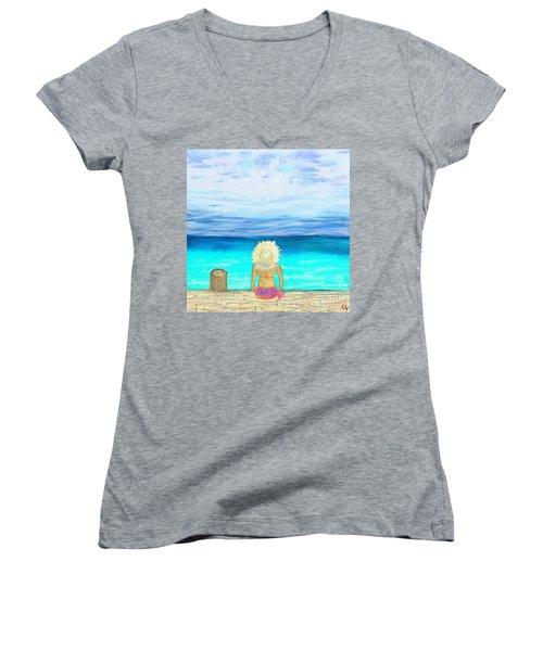 Bikini On The Pier Women's V-Neck T-Shirt (Junior Cut) by Jeremy Aiyadurai