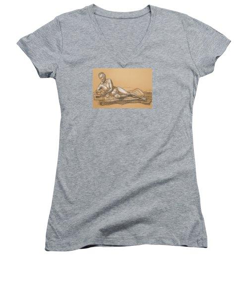 Bill Reclining Women's V-Neck T-Shirt (Junior Cut) by Donelli  DiMaria