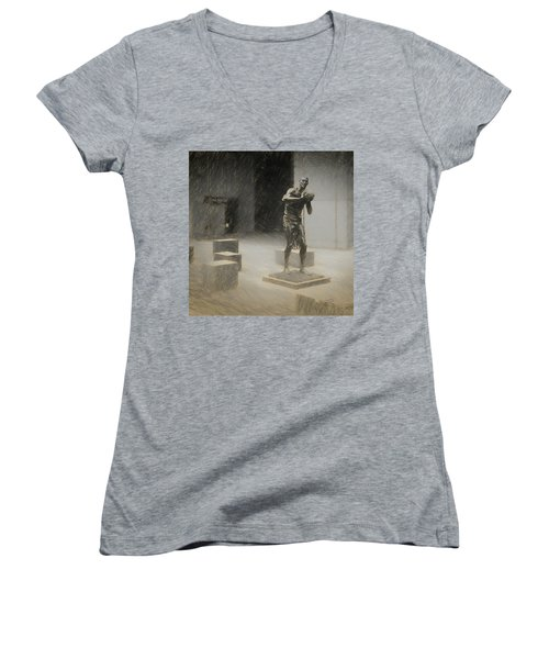 Bill Russell Statue Women's V-Neck (Athletic Fit)