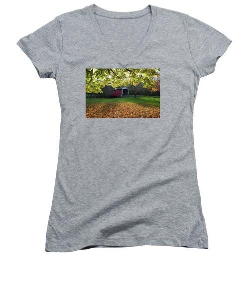 Billy Creek Bridge Women's V-Neck T-Shirt (Junior Cut) by Joanne Coyle